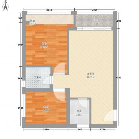 九鼎国际城2室1厅1卫1厨56.00㎡户型图
