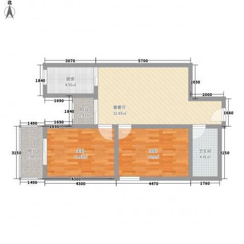 文景雅苑2室1厅1卫1厨88.00㎡户型图