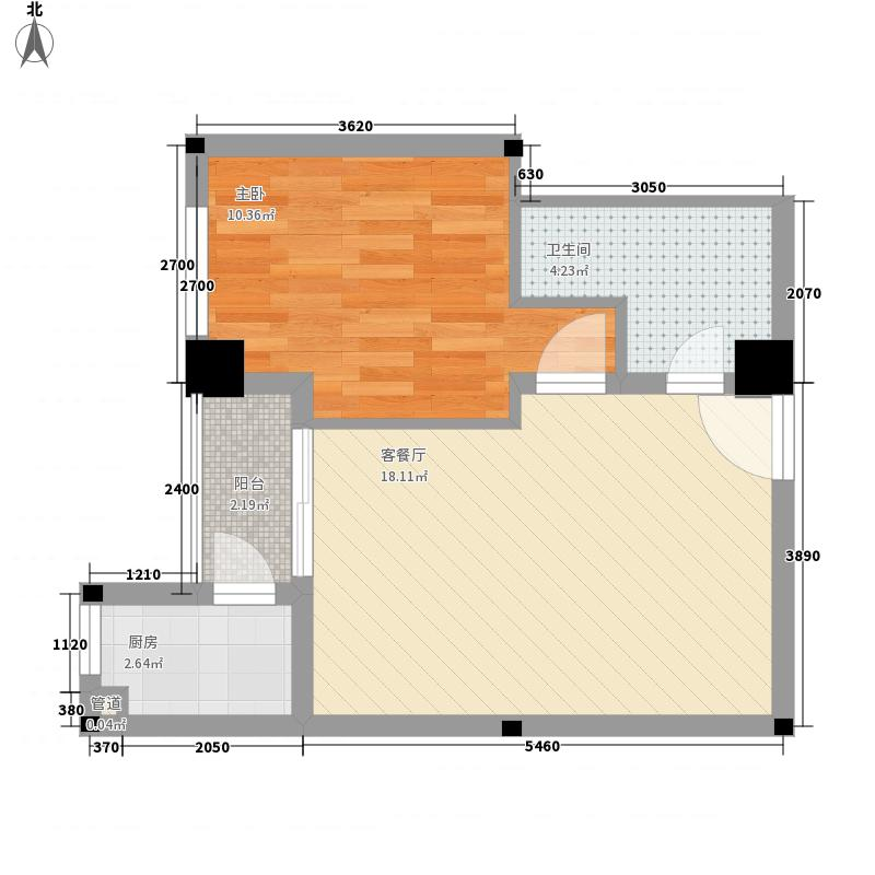 东辰瑞景户型图E-4罗曼地 1室1厅1卫1厨