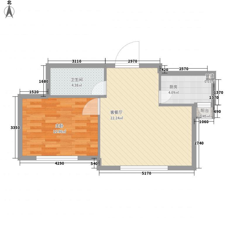 西堤国际62.00㎡西堤国际1室户型1室
