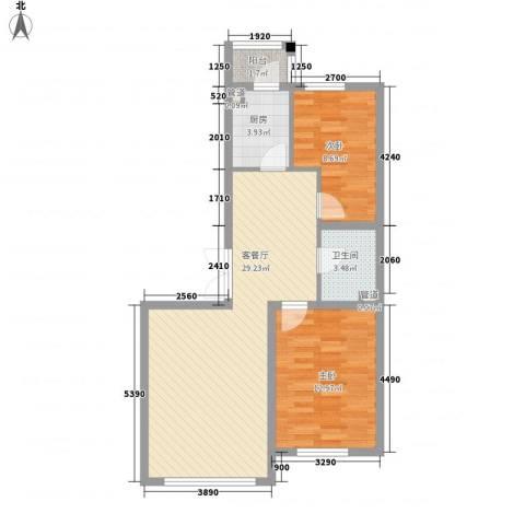 锦绣东方2室1厅1卫1厨90.00㎡户型图