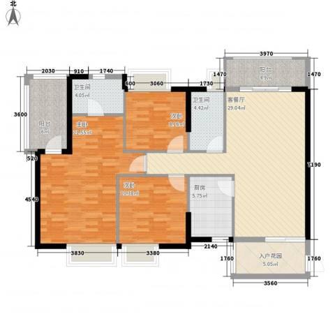 二城心作3室1厅2卫1厨126.00㎡户型图
