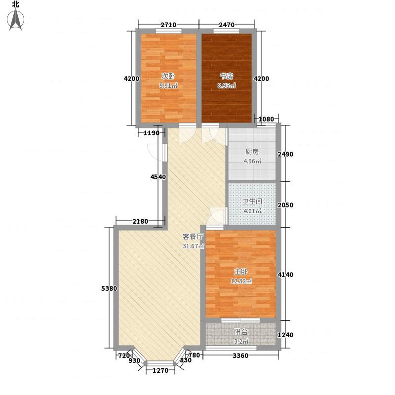 阳光城16.67㎡I户型3室2厅1卫1厨