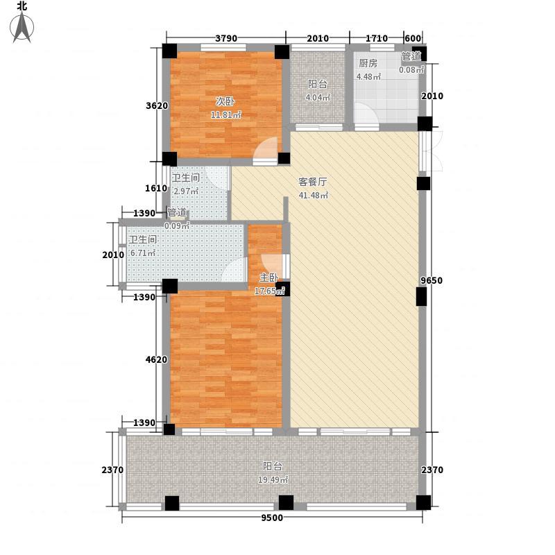 太湖黄金水岸155.00㎡套间B户型2室2厅1卫1厨