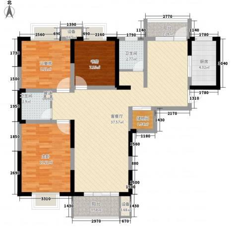 荣亨逸都3室1厅2卫1厨126.00㎡户型图