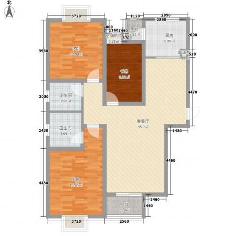 西城山景3室1厅2卫1厨133.00㎡户型图
