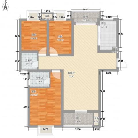 荣亨逸都3室1厅2卫1厨123.00㎡户型图