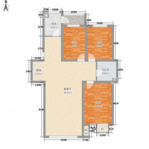 锦绣东方3室1厅1卫1厨116.00㎡户型图