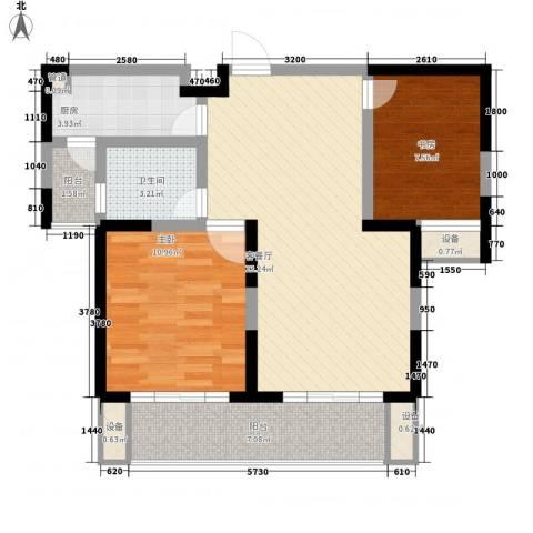 荣亨逸都2室1厅1卫1厨88.00㎡户型图