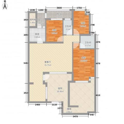 万科城市高尔夫花园二期3室1厅2卫1厨145.00㎡户型图