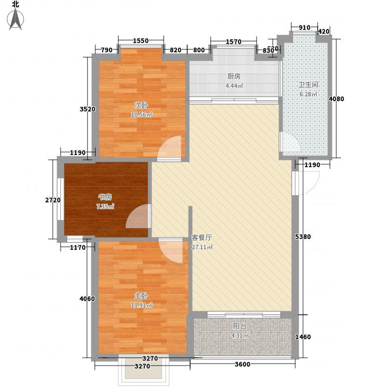 金润和谐居8.82㎡多层1-7#标准层户型3室2厅1卫1厨