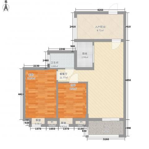 美林湖国际社区2室1厅1卫1厨87.00㎡户型图
