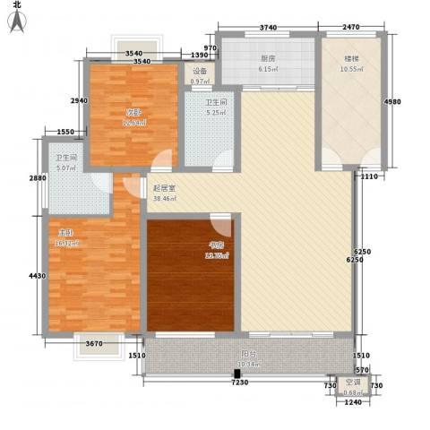 鸿运华庭3室0厅2卫1厨136.00㎡户型图