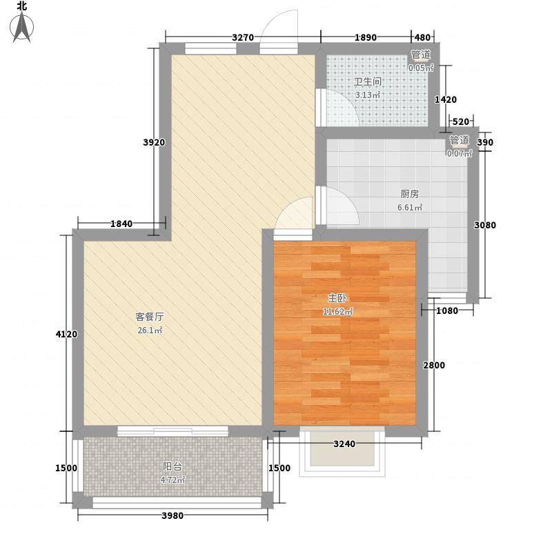 银盛泰盛世景园76.60㎡11号楼户型1室2厅1卫