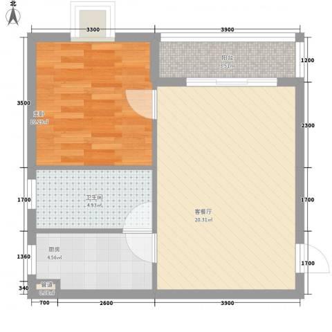 山海湾温泉家园1室1厅1卫1厨57.00㎡户型图