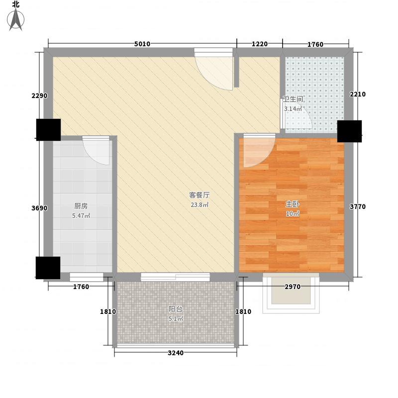 世纪豪庭67.40㎡9号楼B户型1室2厅1卫1厨