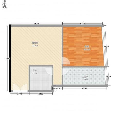 新街口苏宁生活广场1厅1卫1厨68.00㎡户型图