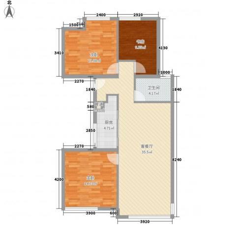 万科城市高尔夫花园二期3室1厅1卫1厨112.00㎡户型图