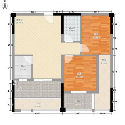 观澜御苑二期观澜御�台2室1厅1卫1厨93.00㎡户型图