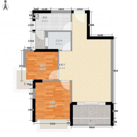 城市阳光花园2室1厅1卫1厨68.00㎡户型图
