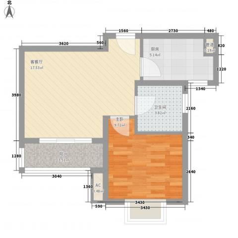 绿地启航社(河西)1室1厅1卫1厨59.00㎡户型图