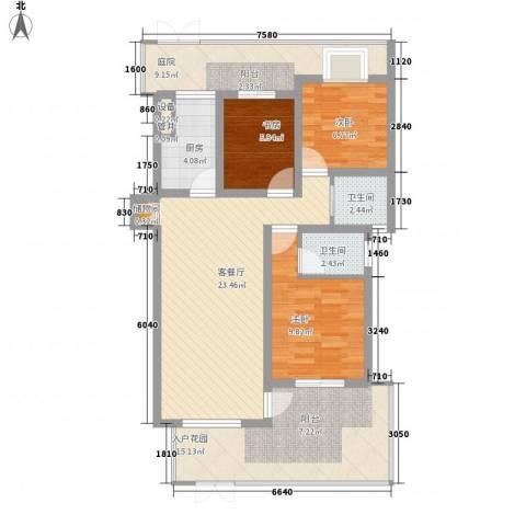 宇扬雨花石文化园3室1厅2卫1厨116.00㎡户型图