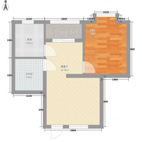 山海湾温泉家园1室1厅1卫1厨54.00㎡户型图