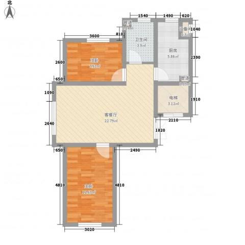 锦绣东方2室1厅1卫1厨80.00㎡户型图