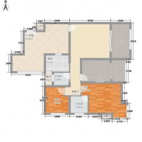 禹洲领海2室1厅2卫1厨102.66㎡户型图
