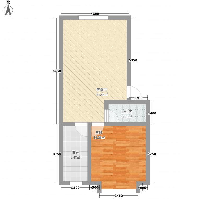 天山花园5.00㎡J型户型1室2厅1卫1厨