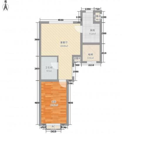 锦绣东方1室1厅1卫1厨62.00㎡户型图