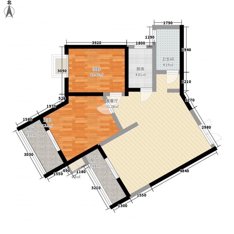 康乐花园103.79㎡2号楼朝南户型2室2厅1卫1厨