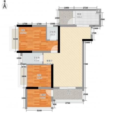 环球时代广场3室1厅2卫1厨84.00㎡户型图