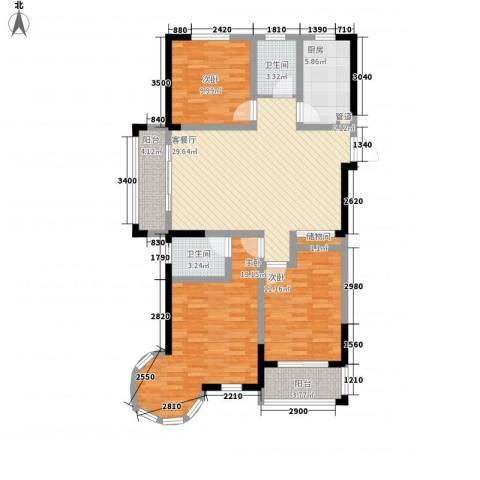 万福・君临天下3室1厅2卫1厨122.00㎡户型图