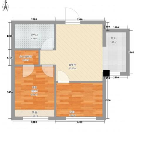 海天富地2室1厅1卫0厨57.00㎡户型图