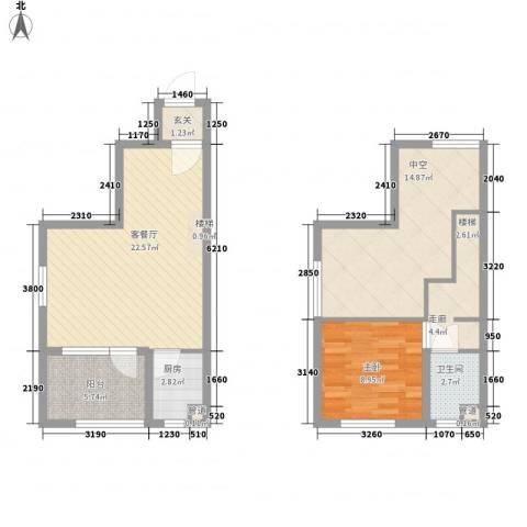 未来锦城1室1厅1卫1厨93.00㎡户型图