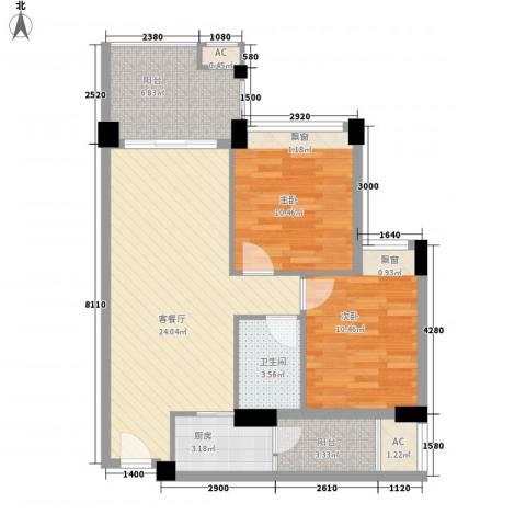 宏远沿河商住楼2室1厅1卫1厨85.00㎡户型图
