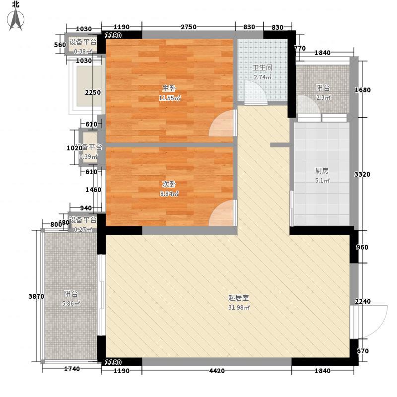 优点社区87.80㎡10号楼B4-1户型2室1厅1卫1厨