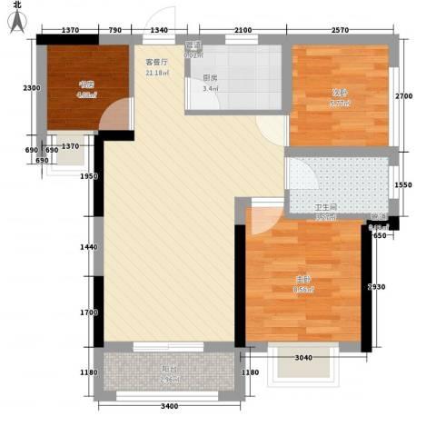 兰亭�岛3室1厅1卫1厨72.00㎡户型图