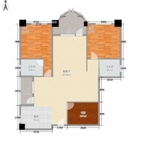 享域滨江3室1厅2卫0厨161.00㎡户型图