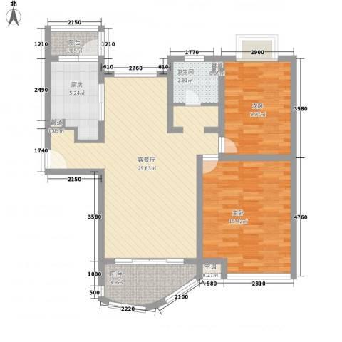 金沙丽晶苑2室1厅1卫1厨102.00㎡户型图