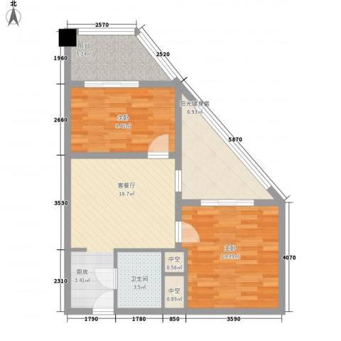 远能锦座2室1厅1卫0厨76.00㎡户型图