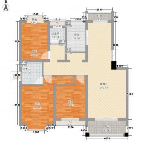 绿水家园3室1厅2卫1厨140.00㎡户型图