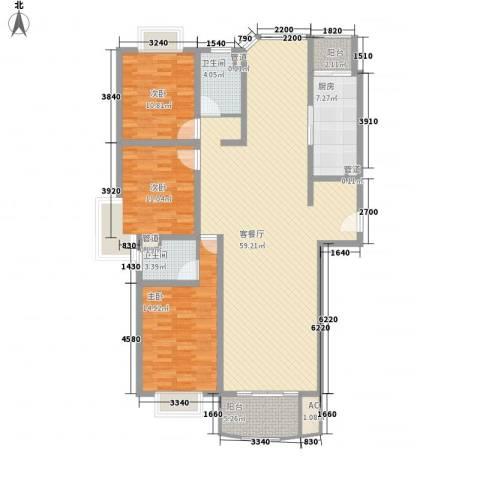 河风丽景3室1厅2卫1厨170.00㎡户型图