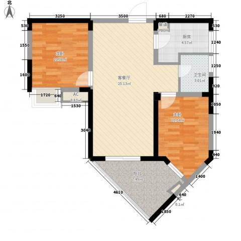金星家园2室1厅1卫1厨88.00㎡户型图