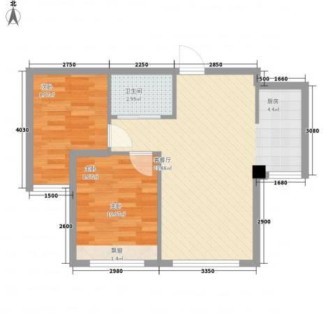 海天富地2室1厅1卫0厨66.00㎡户型图