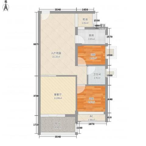 宏远沿河商住楼2室1厅1卫1厨86.00㎡户型图