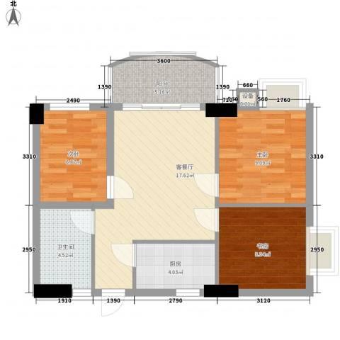 索丽苑3室1厅1卫1厨80.00㎡户型图