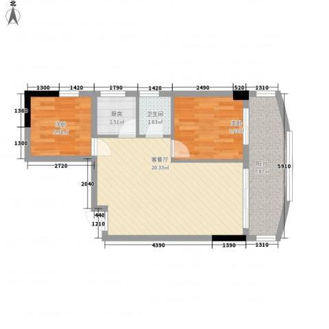 索丽苑2室1厅1卫1厨68.00㎡户型图