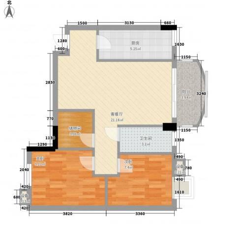 索丽苑2室1厅1卫1厨78.00㎡户型图